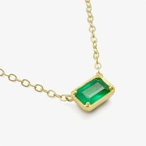 4 Ct Solitaire Green Emerald Pendant Necklace 14k